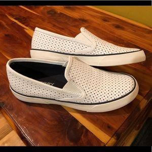 Sperry seaside perforated slip on shoes